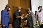 Akufo-Addo, Mahama shake hands, call for peace ahead of polls