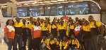 Players and officials of Ghana's Interllectually Disabled Team pose for the cameras