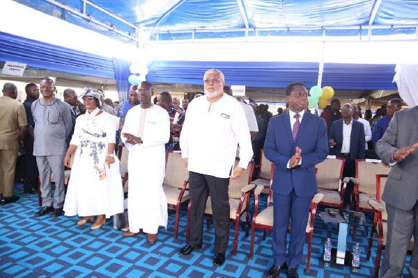 From right: Apostle Eric Kwabena Nyamekye, former President Rawlings, CEO Jospong Group of Companies