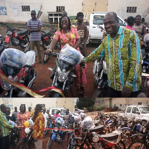 19 motorbikes with two helmets each were presented  to Agriculture Extension Agents