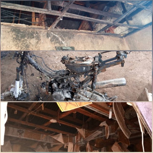 All the items in Samuel Gonsob Sansah's room including his motorbike got burnt