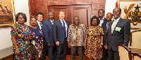 Nana Addo (4th from right) in picture with delegation from British Airways
