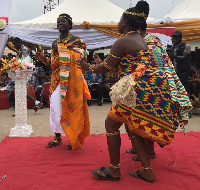 Traditional dancers welcome Abigail Nsiah Afrah to the durbar