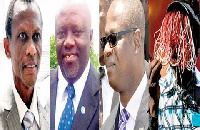 From left: Justice Utter Derry, Justice Ayisi Addo, Justice Charles Quist, Anas Aremeyaw Anas