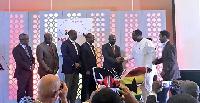 Robert Ahomka-Lindsay with delegates from Kenya