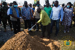 President Akufo-Addo cutting the sod for construction to begin
