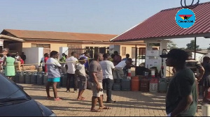 People queuing to fill their gas cylinders at Ashaley Botwey