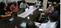 Representatives of the National Health Insurance Authority at a media briefing