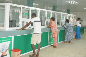 File: Some customers at a rural bank