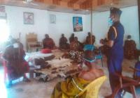 The Swedru Divisional Police Commander, ACP Desmond Kofi Owusu interacting with chiefs