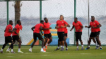 Cameroonian players attend a training session in Ismailia, FILE PHOTO | AFP