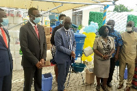 Officials of the GRA during the formal presentation of items to Education Ministry officials