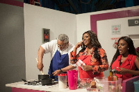 Former President Jerry John Rawlings cooking 'akple' on Yvonne Okoro's 'Dining With' show