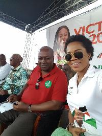 Mzbel with President Mahama at NDC rally     File Photo