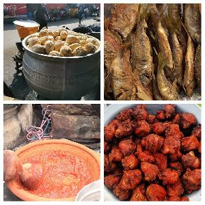 Ga Kenkey goes mostly with kena - fried fish, tsoofi - turkey tail or pork - domedo