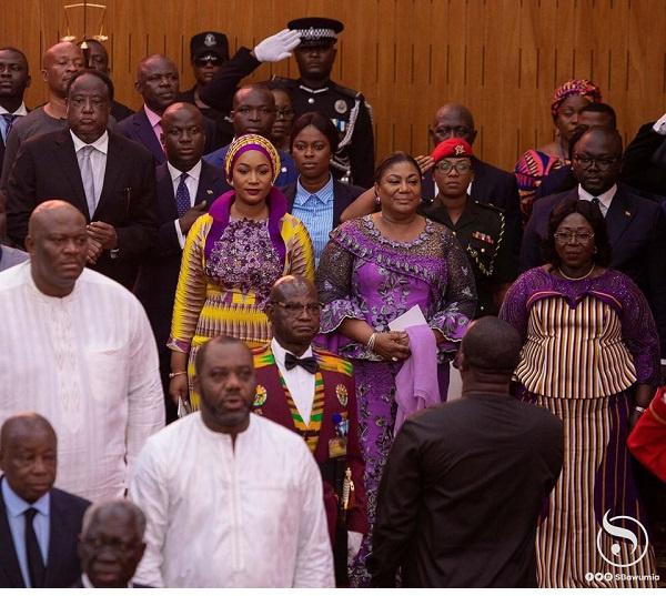 Mrs Rebecca Akufo-Addo, Samira Bawumia and Madam Frema Opare captured in parliament