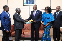 Snr Minister Yaw Osafo-Maafo presenting joint communique summarizing the outcome of the meeting