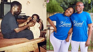 Rapper Sarkodie and actress Moesha Boduong with their fathers