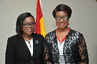 New Judicial Secretary Cynthia P. A. Addo with Chief Justice Sophia A.B. Akuffo