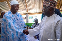 Alhaji Idrissa Alla Kabo, Zongo Chief of Sampa in a handshake with Veep, Dr Bawumia