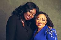 Peace Hyde [L] with Africa's richest woman, Folorunso Alakija