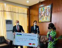 The cheque was received by Chief of Staff, Frema Opare at the Jubilee House