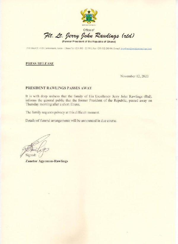 Family of Ex-President Rawlings speaks on his death 1