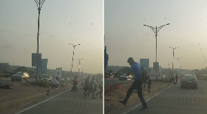 People crossing at the Achimota overhead part of the highway