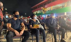 Kimathi Rawlings and his sister Dr. Zanetor Agyeman-Rawlings at the NDC vigil