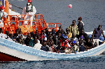 File photo [A ship carrying a group of migrants]