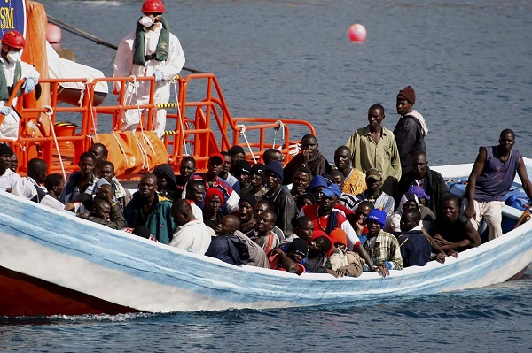 Migrants on a life boat