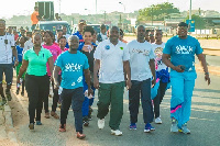 MP for Trobu Constituency, Anim Moses (m) and Carlos Fugar on extreme right during the walk