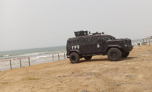 A police van parked at a beach front during the 2021 Easter to help keep off patrons
