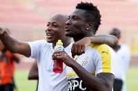 Asamoah Gyan and Dede Ayew
