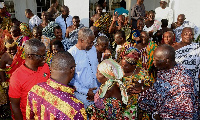 Vice President, Amissah-Arthur interacting with the Chiefs