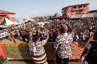 President John Dramani Mahama with Lordina at a rally in the Brong Ahafo Region