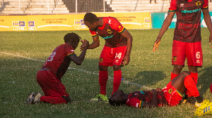 Kotoko players crestfallen after crushing out of the FA Cup