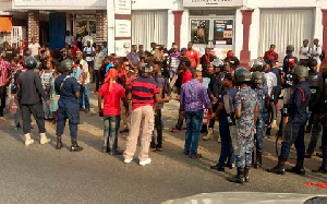 Aggrieved customers of Menzgold embarked on a demonstration Tuesday January 7