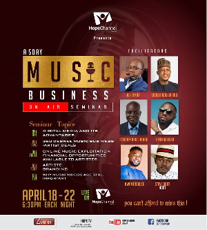 The Hope On-Air Music Business Seminar comes off between 18 – 22nd April 2021, 6:30pm each night