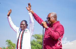 Former president John Dramani Mahama with Isaac Adongo