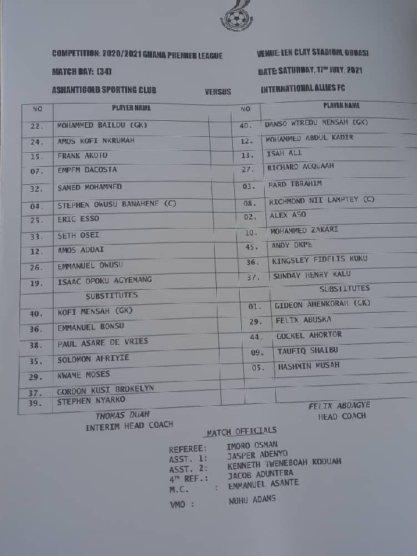 Check out names of Ashanti Gold and Inter Allies players and officials who featured in alleged match-fixing plot. 49
