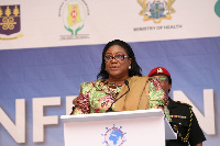 Rebecca  Akufo-Addo speaking at INTEREST Conference on HIV