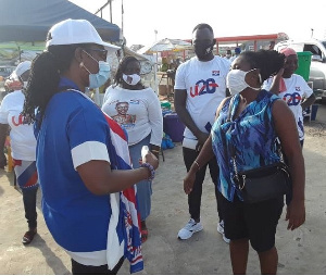 Ursula Owusu-Erkuful engaging some of her constituents on the new voters register