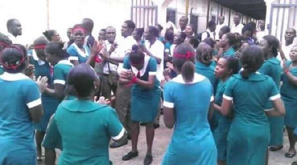 File photo of demonstrating nurses
