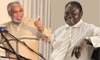 Former President JJ Rawlings and Boxing legend, Azumah Nelson