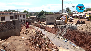 The drainage under construction at the Suame market in Kumasi
