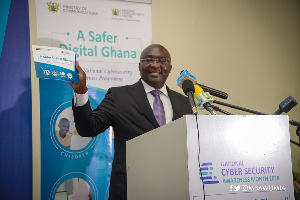 Vice President, Dr. Mahamudu Bawumia speaking at the Cyber Security Forum in Accra