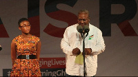 Former president John Mahama with his interpreter on stage