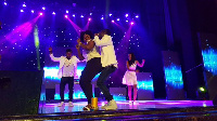 Lydia Forson on stage with Okyeame Kwame