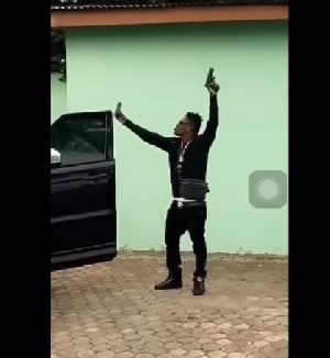 Shatta Wale posted a video online in which he was seen shooting a gun